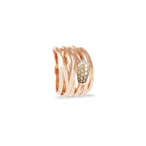 Anello in oro rosa con diamanti bianchi e brown Collezione Gomitolo Oro 18 carati Diamanti bianchi: carati 0,06 - qualità G/VS