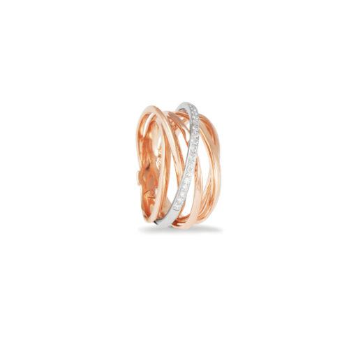 Anello in oro rosa con diamanti bianchi Collezione Gomitolo Oro 18 carati Diamanti bianchi: carati 0,15 - qualità G/VS