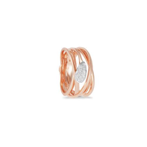 Anello in oro rosa con diamanti bianchi Collezione Gomitolo Oro 18 carati Diamanti bianchi: carati 0,20 - qualità G/VS