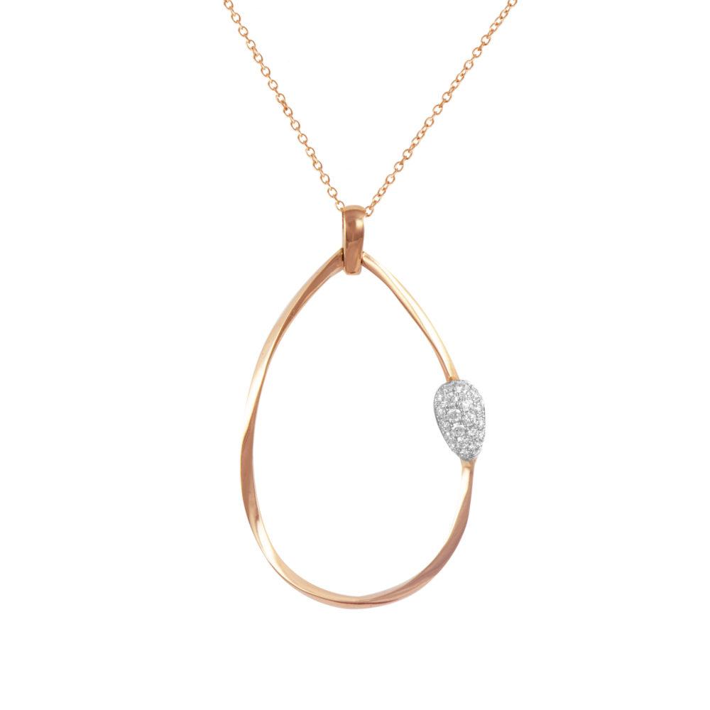 endente in oro rosa con diamanti bianchi Collezione Gomitolo Oro 18 carati Diamanti bianchi: carati 0,20 - qualità G/VS Lunghezza catena: 45 cm