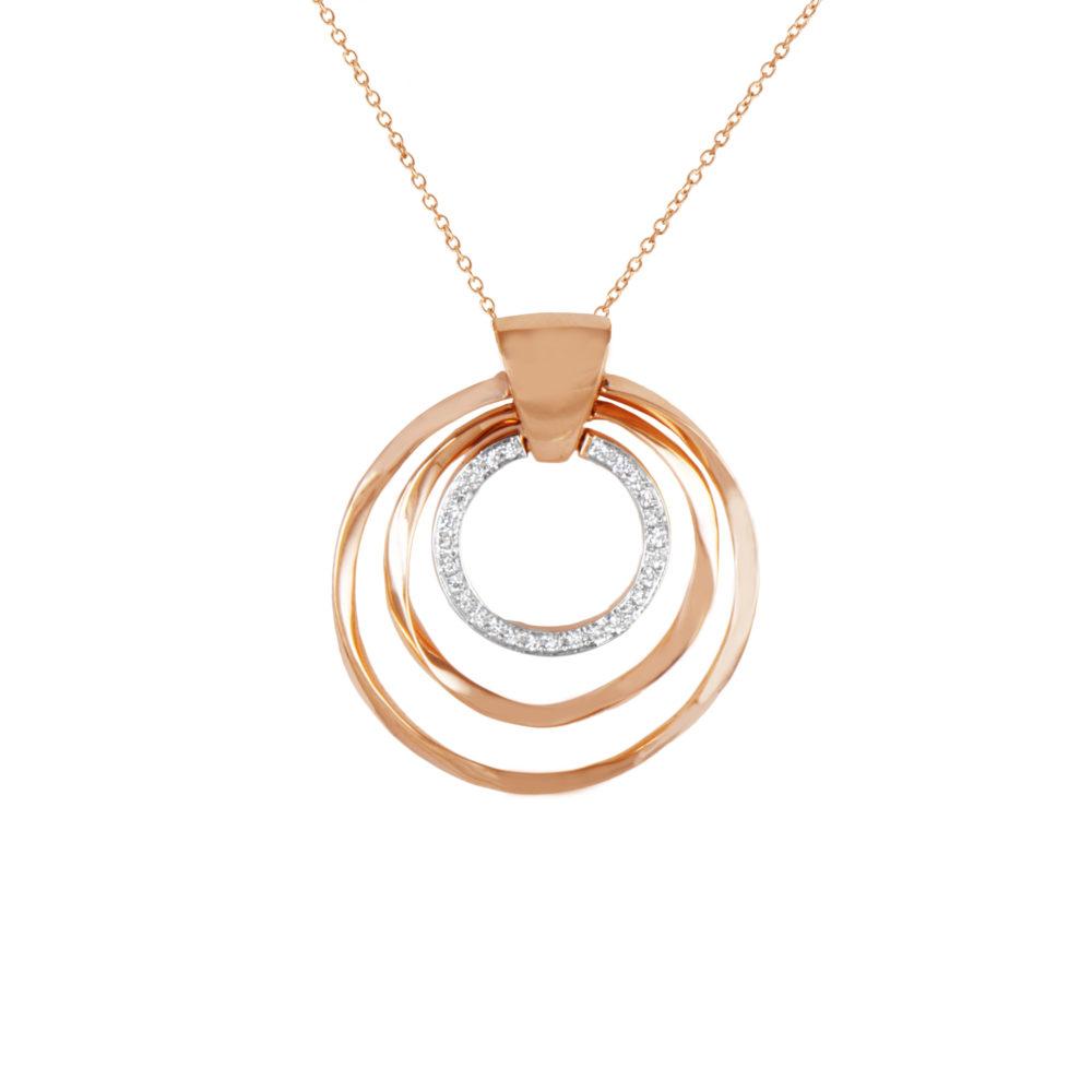 Pendente in oro rosa con diamanti bianchi Collezione Gomitolo Oro 18 carati Diamanti bianchi: carati 0,14 - qualità G/VS Lunghezza catena: 45 cm