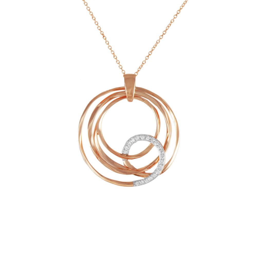 Pendente in oro rosa con diamanti bianchi Collezione Gomitolo Oro 18 carati Diamanti bianchi: carati 0,13 - qualità G/VS Lunghezza catena: 45 cm