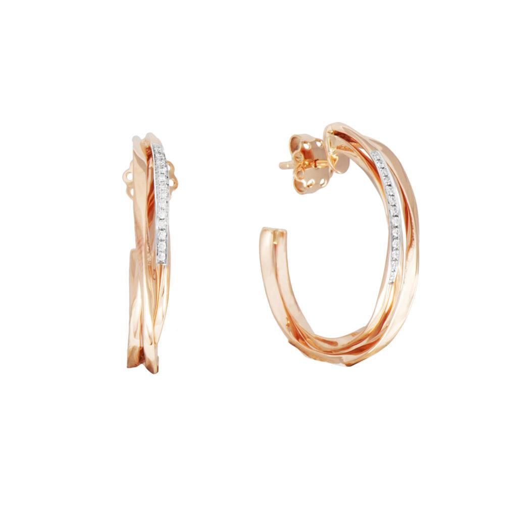 recchini in oro rosa con diamanti bianchi Collezione Gomitolo Oro 18 carati Diamanti bianchi: carati 0,13 - qualità G/VS