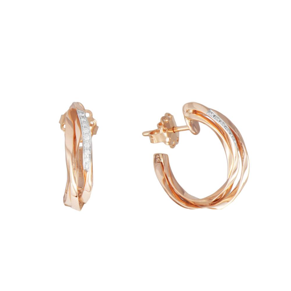 Orecchini in oro rosa con diamanti bianchi Collezione Gomitolo Oro 18 carati Diamanti bianchi: carati 0,09 - qualità G/VS