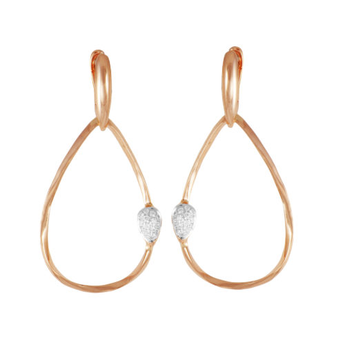 Orecchini in oro rosa con diamanti bianchi Collezione Gomitolo Oro 18 carati Diamanti bianchi: carati 0,13 - qualità G/VS