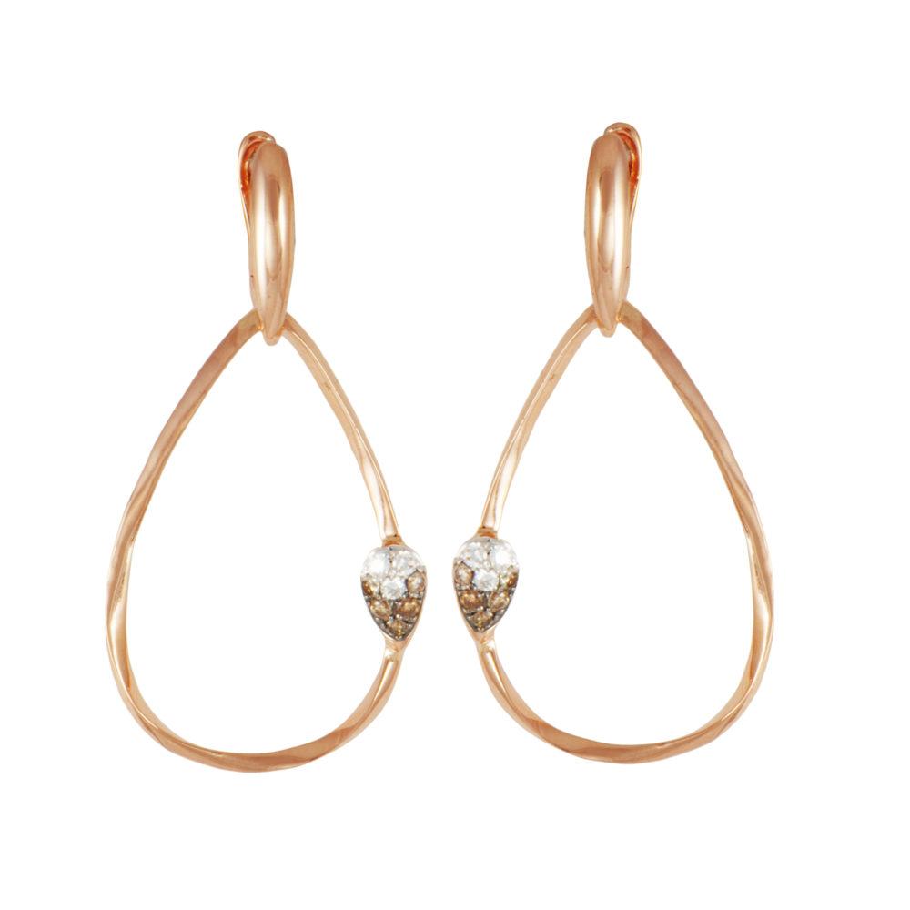 Orecchini in oro rosa con diamanti bianchi e brown Collezione Gomitolo Oro 18 carati Diamanti bianchi: carati 0,05 - qualità G/VS