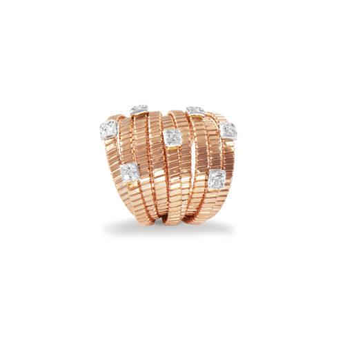 Anello in oro rosa con diamanti bianchi Collezione Bundles Oro 18 carati Diamanti bianchi: carati 0,22 - qualità G/VS
