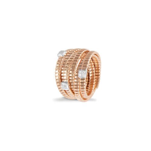 Anello in oro rosa con diamanti bianchi Collezione Bundles Oro 18 carati Diamanti bianchi: carati 0,10 - qualità G/VS