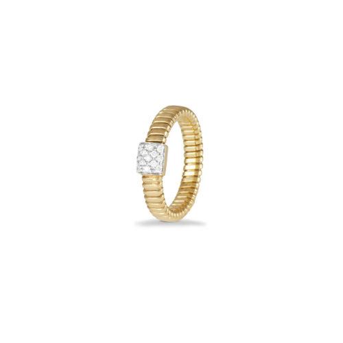 Anello in oro giallo con diamanti bianchi Collezione Basic Oro 18 carati Diamanti bianchi: carati 0,13 - qualità G/VS