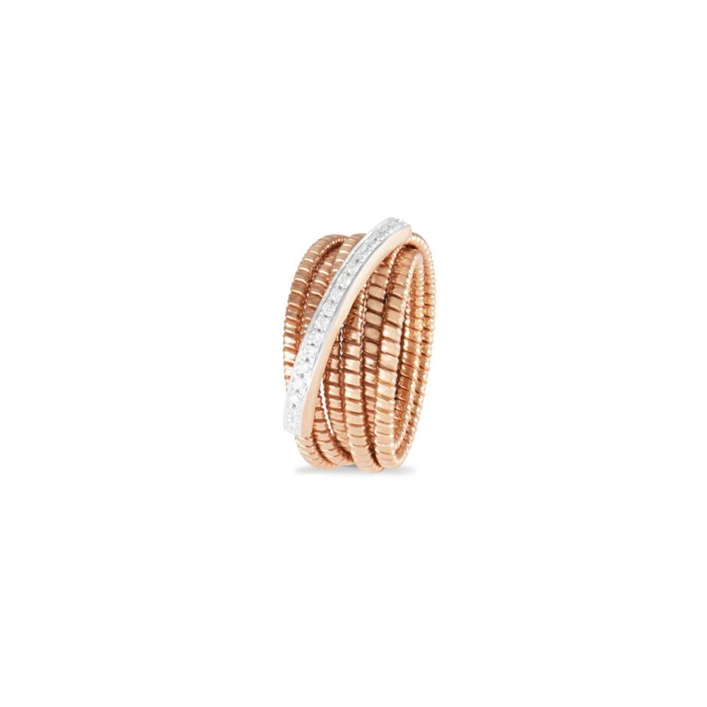 Anello in oro rosa con diamanti bianchi Collezione Bundles Oro 18 carati Diamanti bianchi: carati 0,14 - qualità G/VS