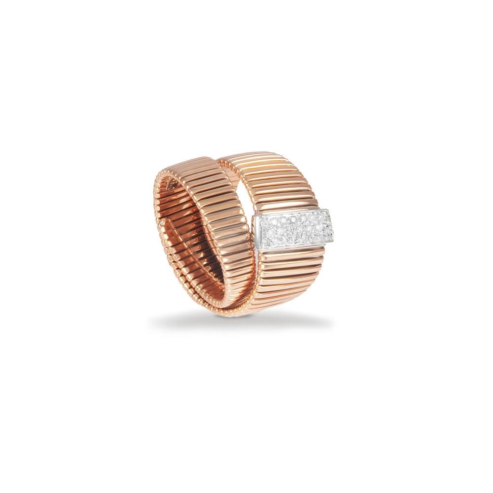 Anello in oro rosa con diamanti bianchi Collezione Wide Oro 18 carati Diamanti bianchi: carati 0,18 - qualità G/VS