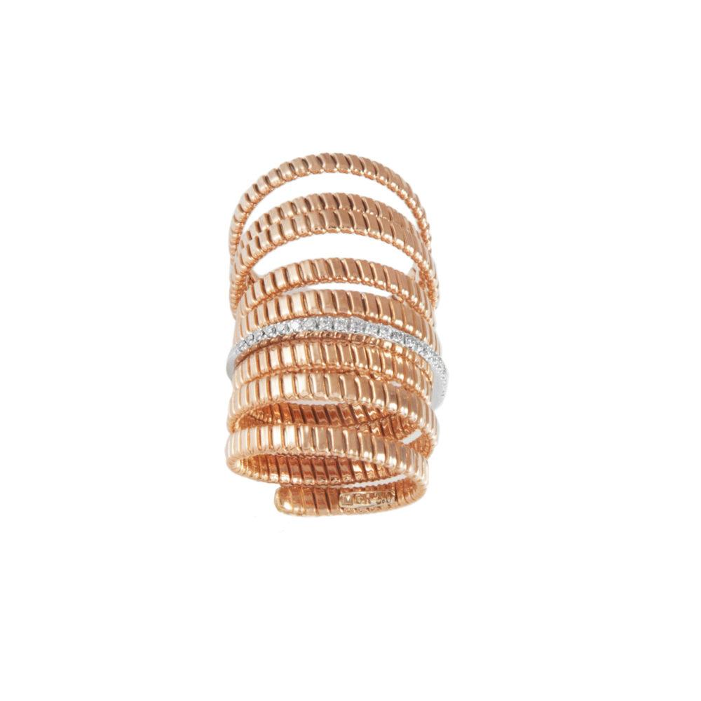Anello in oro rosa con diamanti bianchi Collezione Bundles Oro 18 carati Diamanti bianchi: carati 0,16 - qualità G/VS