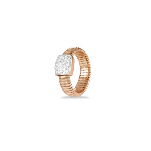 Anello in oro rosa con diamanti bianchi Collezione Basic Oro 18 carati Diamanti bianchi: carati 0,27 - qualità G/VS