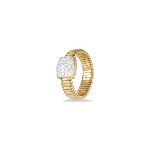 Anello in oro giallo con diamanti bianchi Collezione Basic Oro 18 carati Diamanti bianchi: carati 0,27 - qualità G/VS