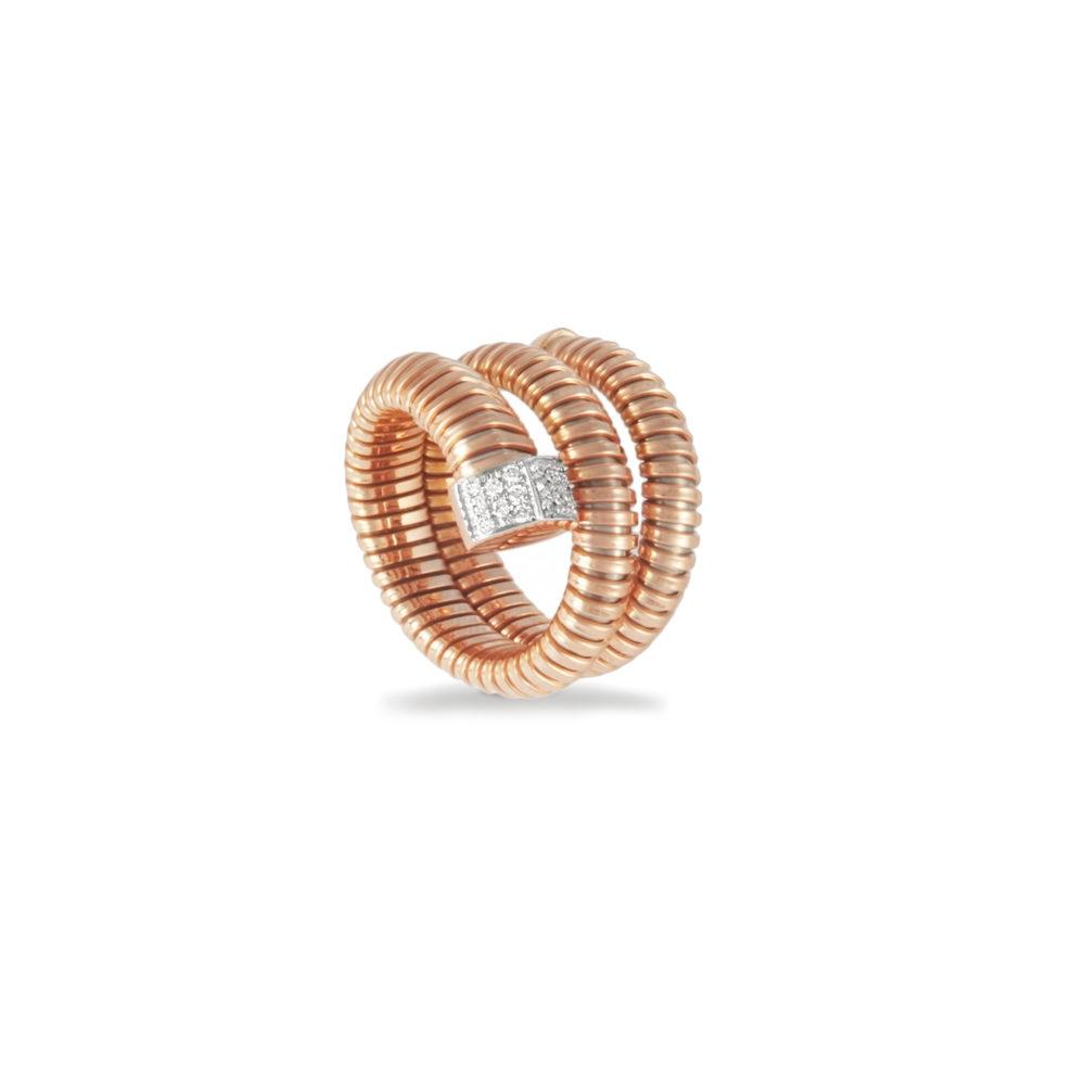 Anello in oro rosa con diamanti bianchi Collezione Wide Oro 18 carati Diamanti bianchi: carati 0,13 - qualità G/VS