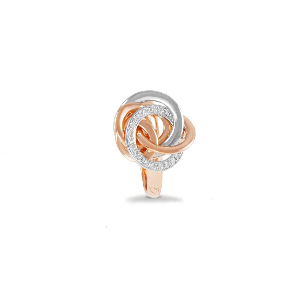 Anello in oro rosa e bianco con diamanti bianchi Collezione Circles Oro 18 carati Diamanti bianchi: carati 0,18 - qualità G/VS