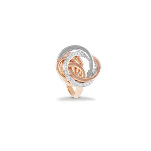 Anello in oro rosa e bianco con diamanti bianchi Collezione Circles Oro 18 carati Diamanti bianchi: carati 0,26 - qualità G/VS