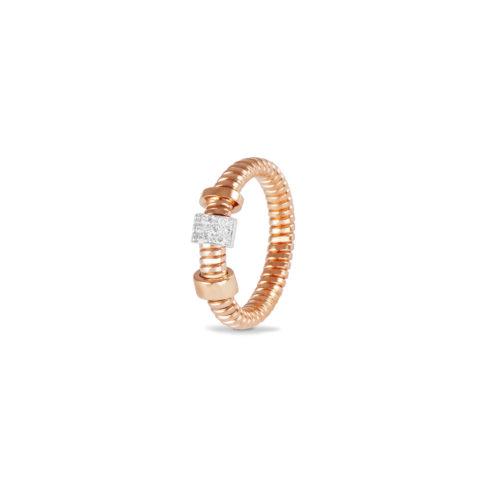 Anello in oro rosa con diamanti bianchi Collezione Move Oro 18 carati Diamanti bianchi: carati 0,10 - qualità G/VS