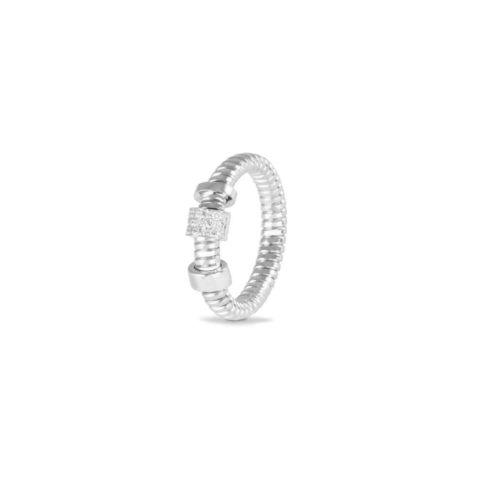 Anello in oro bianco con diamanti bianchi Collezione Move Oro 18 carati Diamanti bianchi: carati 0,10 - qualità G/VS