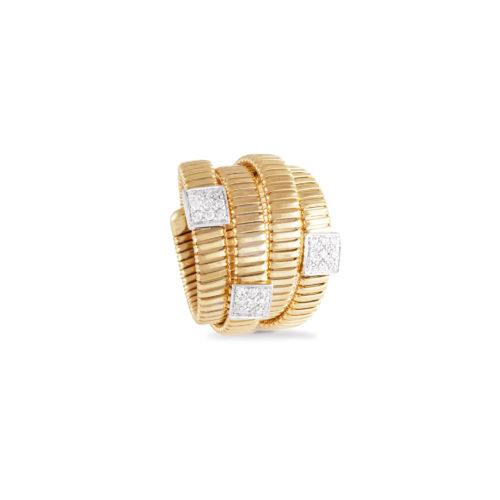 Anello in oro giallo con diamanti bianchi Collezione Wide Oro 18 carati Diamanti bianchi: carati 0,27 - qualità G/VS