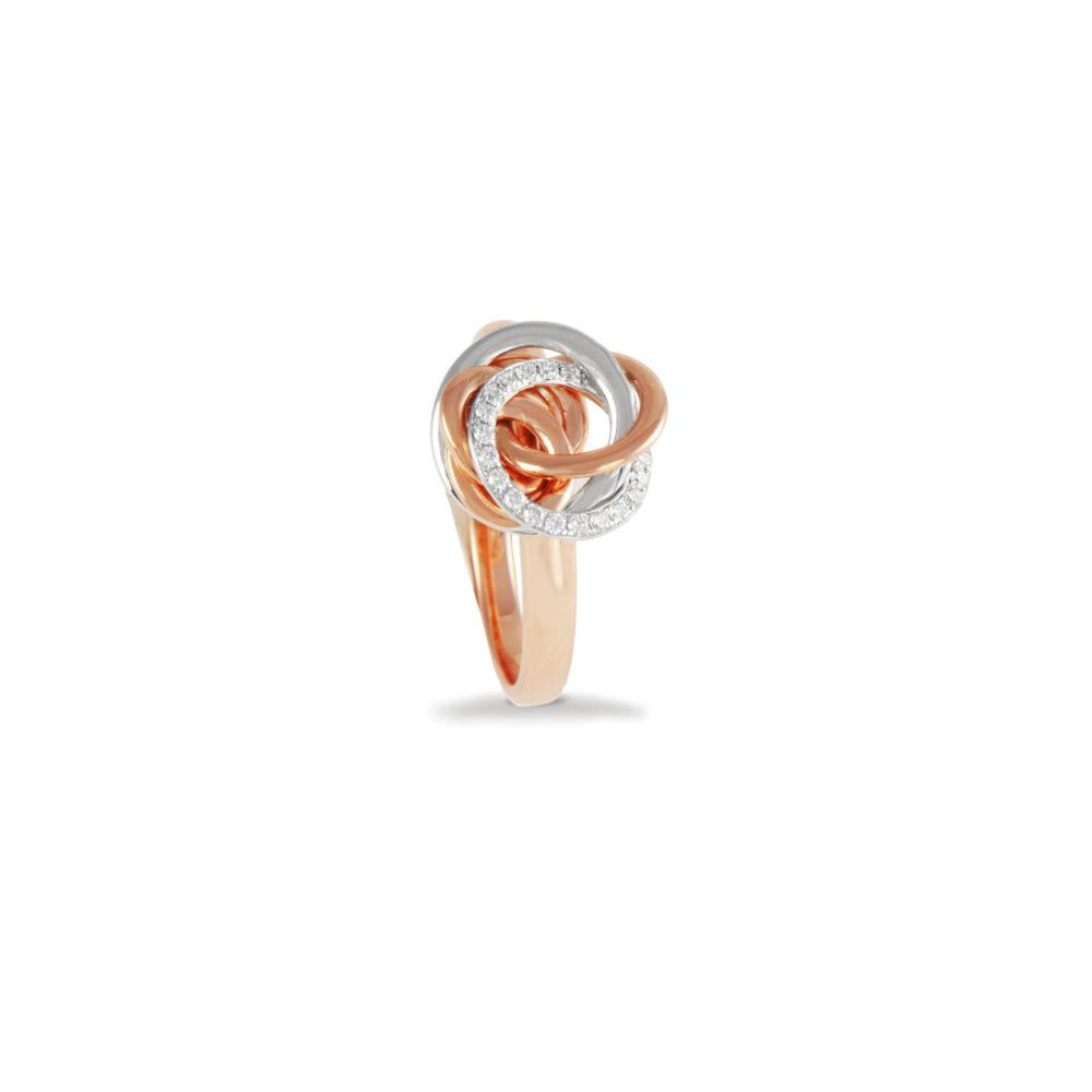Anello in oro rosa e bianco con diamanti bianchi Collezione Circles Oro 18 carati Diamanti bianchi: carati 0,13 - qualità G/VS