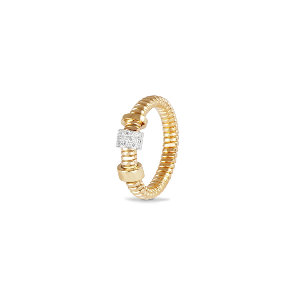 Anello in oro giallo con diamanti bianchi Collezione Move Oro 18 carati Diamanti bianchi: carati 0,10 - qualità G/VS