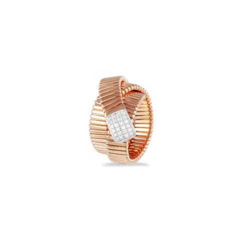 Anello in oro rosa con diamanti bianchi Collezione Wide Oro 18 carati Diamanti bianchi: carati 0,17 - qualità G/VS