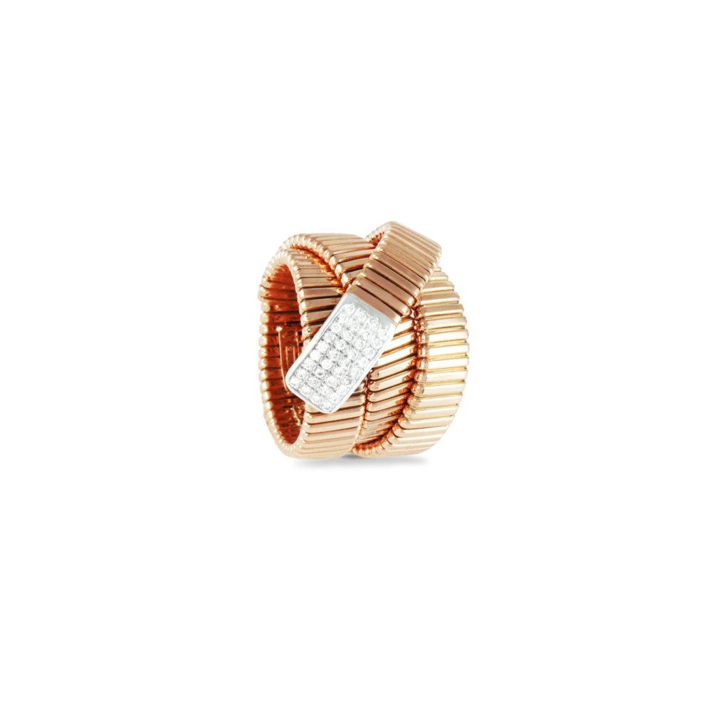 Anello in oro rosa con diamanti bianchi Collezione Wide Oro 18 carati Diamanti bianchi: carati 0,25 - qualità G/VS