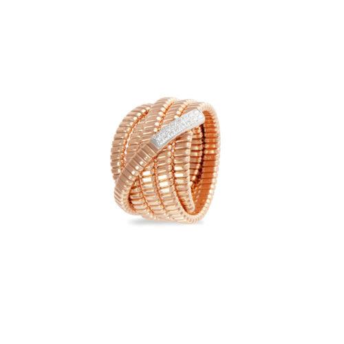 Anello in oro rosa con diamanti bianchi Collezione Bundles Oro 18 carati Diamanti bianchi: carati 0,11 - qualità G/VS
