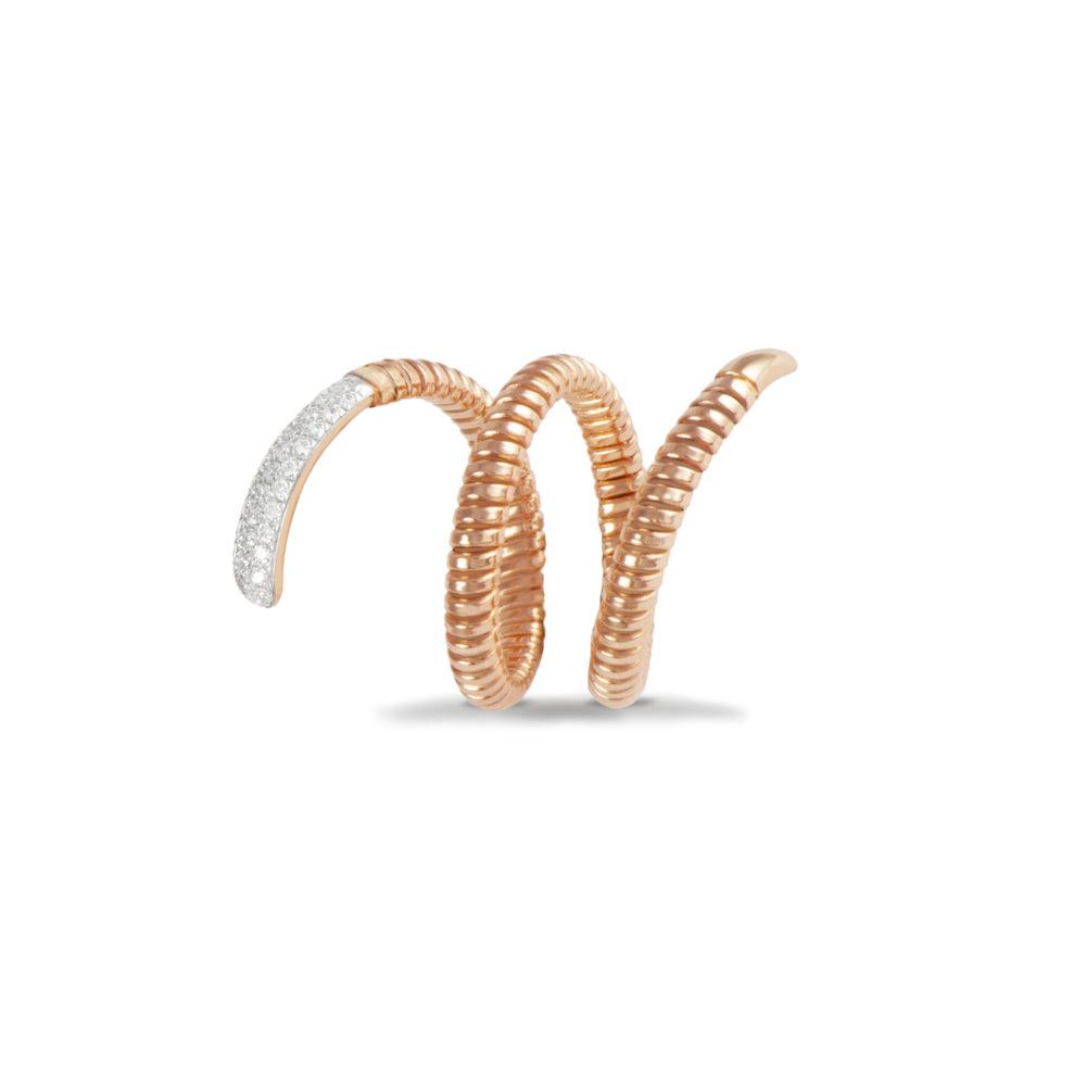 Anello in oro rosa con diamanti bianchi Collezione Snake Oro 18 carati Diamanti bianchi: carati 0,24 - qualità G/VS