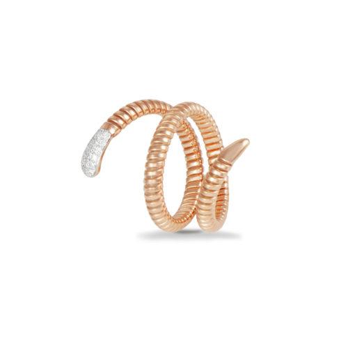 Anello in oro rosa con diamanti bianchi Collezione Snake Oro 18 carati Diamanti bianchi: carati 0,13 - qualità G/VS