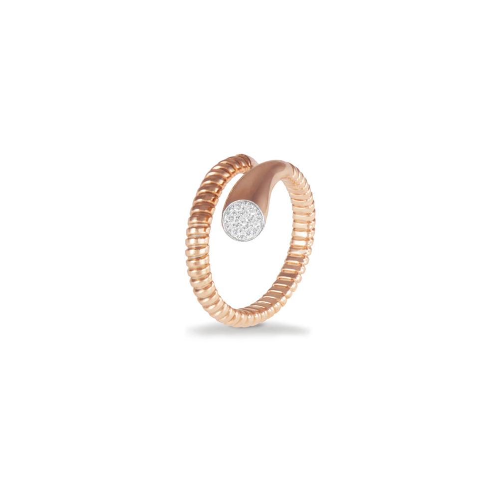 Anello in oro rosa con diamanti bianchi Collezione Snake Oro 18 carati Diamanti bianchi: carati 0,06 - qualità G/VS