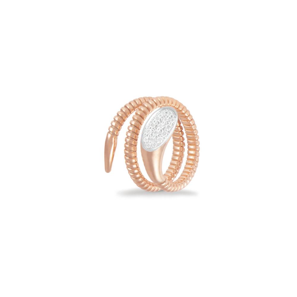 Anello in oro rosa con diamanti bianchi Collezione Snake K di Kuore