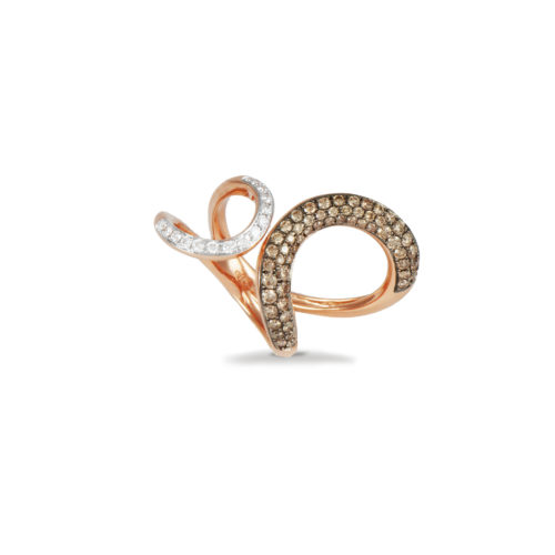 Anello in oro rosa con diamanti bianchi e brown Collezione Intrecci Oro 18 carati Diamanti bianchi: carati 0,17 - qualità G/VS Diamanti brown: carati 0,69