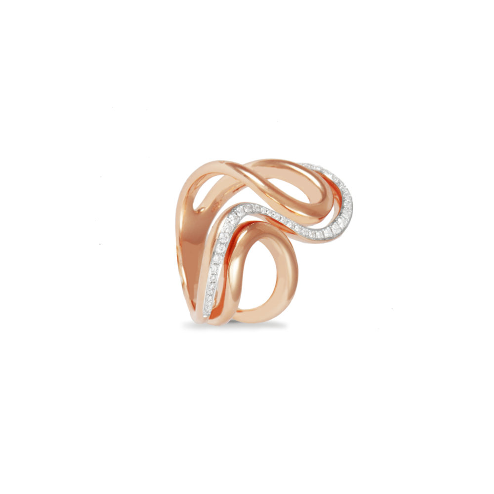 Anello in oro rosa con diamanti bianchi Collezione Intrecci Oro 18 carati Diamanti bianchi: carati 0,24 - qualità G/VS