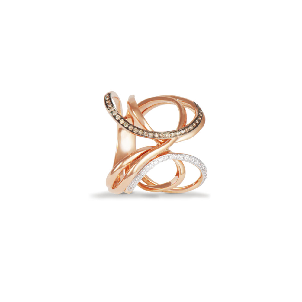 Anello in oro rosa con diamanti bianchi e brown Collezione Intrecci Oro 18 carati Diamanti bianchi: carati 0,10 - qualità G/VS Diamanti brown: carati 0,12