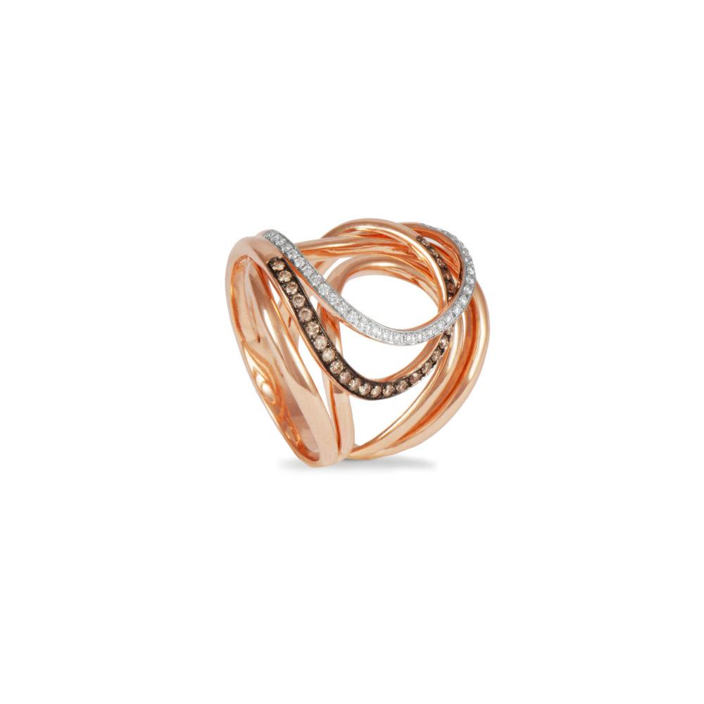 Anello in oro rosa con diamanti bianchi e brown Collezione Intrecci Oro 18 carati Diamanti bianchi: carati 0,13 - qualità G/VS Diamanti brown: carati 0,22