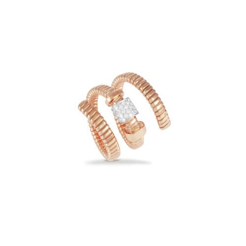 Anello in oro rosa con diamanti bianchi Collezione Move Oro 18 carati Diamanti bianchi: carati 0,17 - qualità G/VS