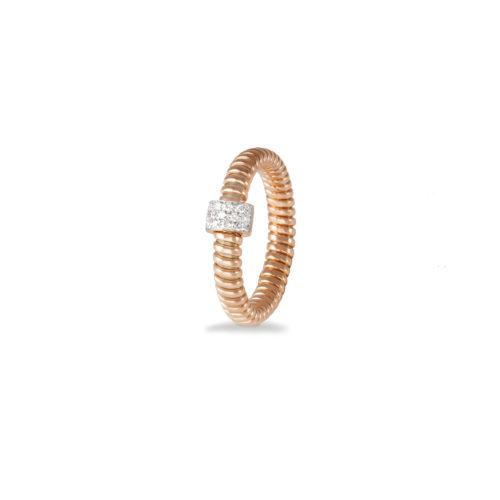 Anello in oro rosa con diamanti bianchi Collezione Basic Oro 18 carati Diamanti bianchi: carati 0,10 - qualità G/VS