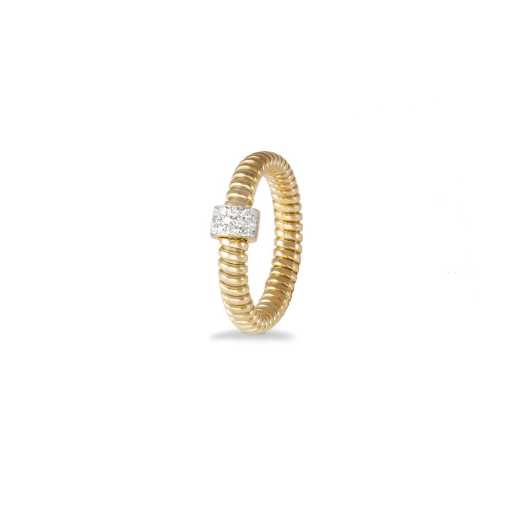Anello in oro giallo con diamanti bianchi Collezione Basic Oro 18 carati Diamanti bianchi: carati 0,10 - qualità G/VS