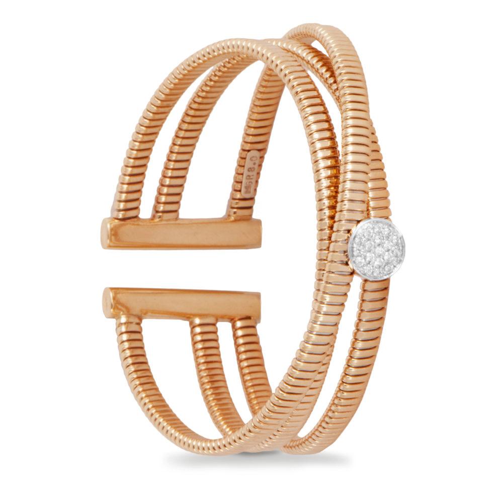 Bracciale in oro rosa con diamanti bianchi Collezione Wide Oro 18 carati Diamanti bianchi: carati 0,15 - qualità G/VS