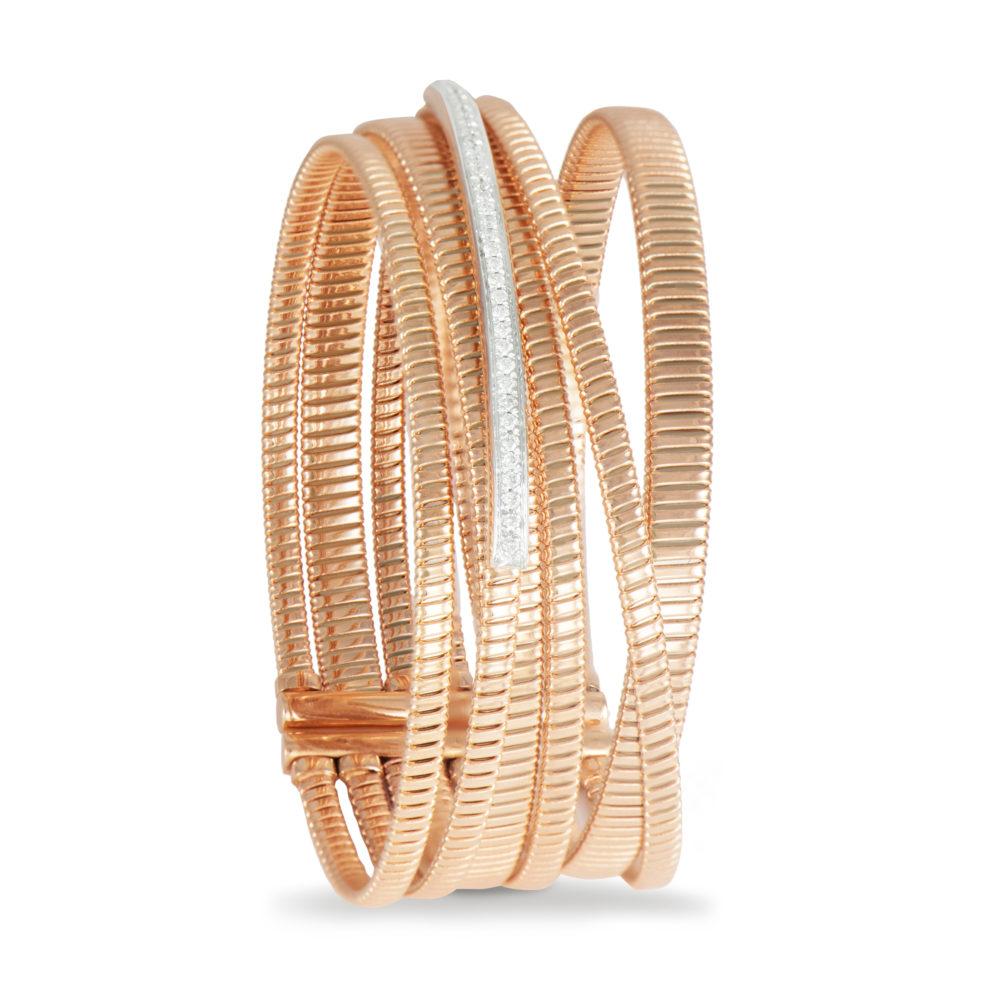 Bracciale in oro rosa con diamanti bianchi Collezione Bundles Oro 18 carati Diamanti bianchi: carati 0,30 - qualità G/VS