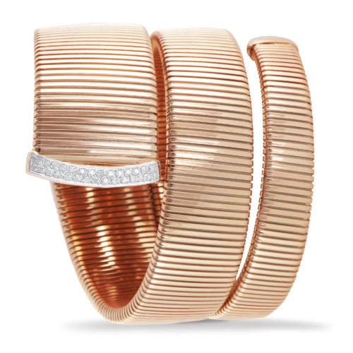 Bracciale in oro rosa con diamanti bianchi Collezione Wide Oro 18 carati Diamanti bianchi: carati 0,23 - qualità G/VS