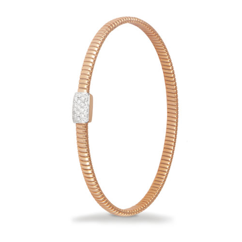 Bracciale in oro rosa con diamanti bianchi Collezione Basic Oro 18 carati Diamanti bianchi: carati 0,18 - qualità G/VS