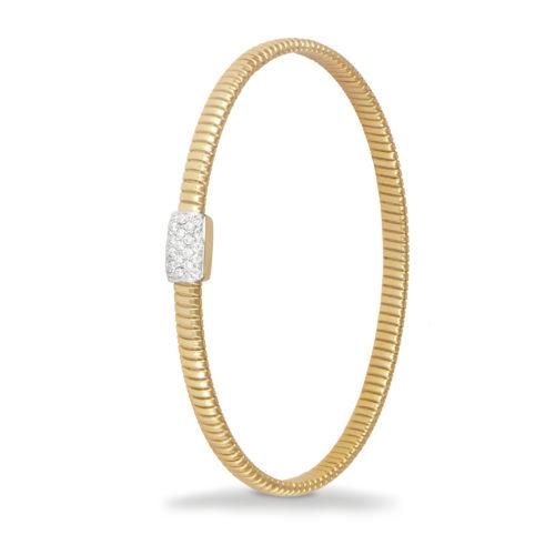 Bracciale in oro giallo con diamanti bianchi Collezione Basic Oro 18 carati Diamanti bianchi: carati 0,18 - qualità G/VS