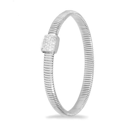 Bracciale in oro bianco con diamanti bianchi Collezione Basic Oro 18 carati Diamanti bianchi: carati 0,27 - qualità G/VS