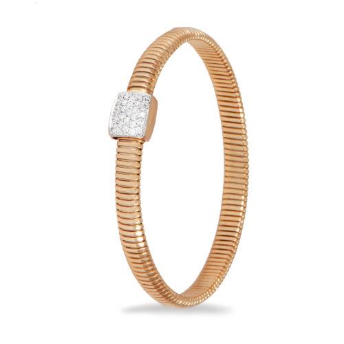 Bracciale in oro rosa con diamanti bianchi Collezione Basic Oro 18 carati Diamanti bianchi: carati 0,27 - qualità G/VS