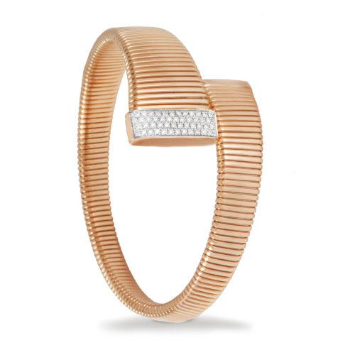 Bracciale in oro rosa con diamanti bianchi Collezione Wide Oro 18 carati Diamanti bianchi: carati 0,40 - qualità G/VS