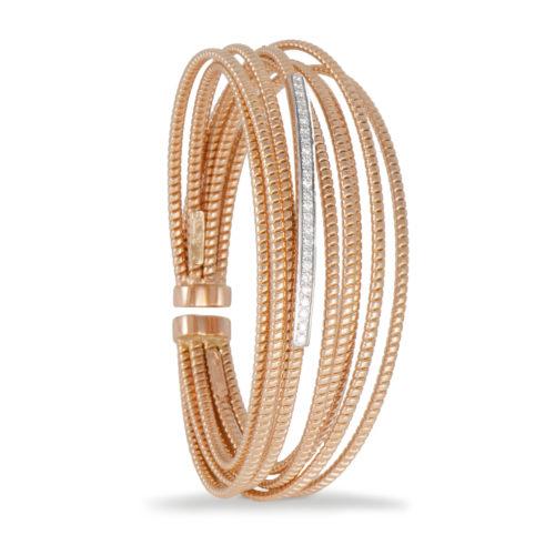 Bracciale in oro rosa con diamanti bianchi Collezione Bundles Oro 18 carati Diamanti bianchi: carati 0,23 - qualità G/VS