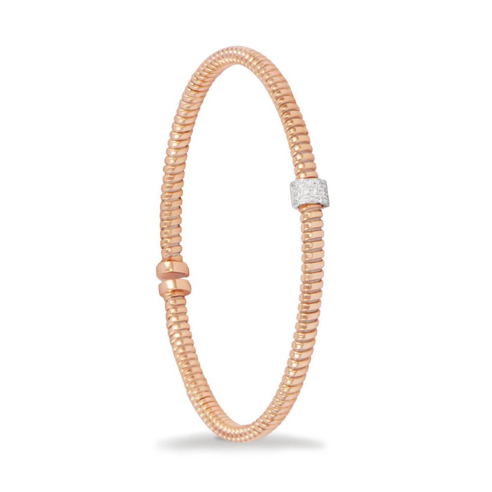 Bracciale in oro rosa con diamanti bianchi Collezione Move Oro 18 carati Diamanti bianchi: carati 0,10 – qualità G/VS